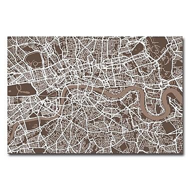 Trademark Fine Art Michael Tompsett 'London Street Map II' Canvas Art 16x24 Inches