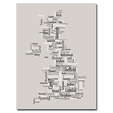 Trademark Fine Art Michael Tompsett 'UK City Text map' Canvas Art 18x24 Inches