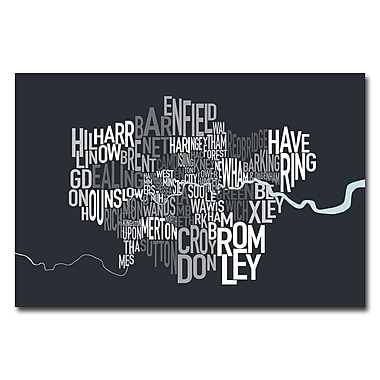 Trademark Fine Art Michael Tompsett 'London Borough Text Map' Canvas Art 16x24 Inches