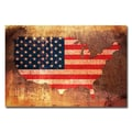Trademark Fine Art Michael Tompsett 'US Flag Map' Canvas Art 16x24 Inches