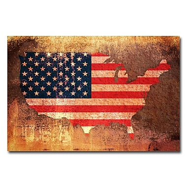 Trademark Fine Art Michael Tompsett 'US Flag Map' Canvas Art 30x47 Inches