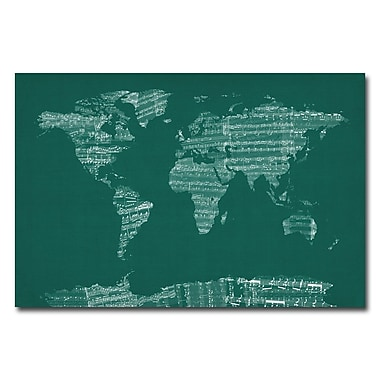 Trademark Fine Art Michael Tompsett 'World Sheet Music Map in Green' Canvas Art 22x32 Inches