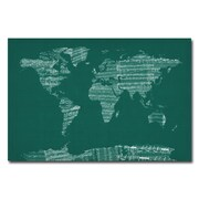 Trademark Fine Art Michael Tompsett 'World Sheet Music Map in Green' Canvas Art 16x24 Inches