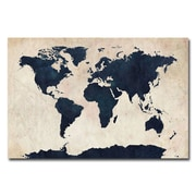 Trademark Fine Art Michael Tompsett 'World Map-Navy' Canvas Art
