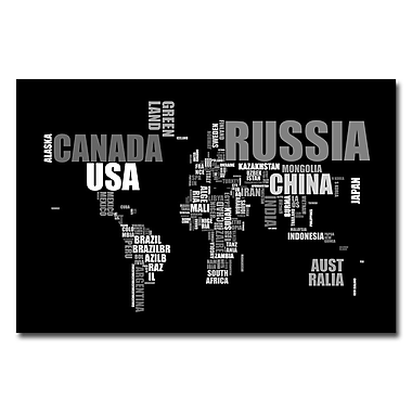 Trademark Fine Art Michael Tompsett 'World Text Map' Canvas Art 30x47 Inches