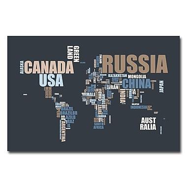Trademark Fine Art Michael Tompsett 'World Text Map' Canvas Art 18x24 Inches