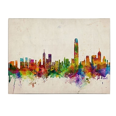 Michael Tompsett 'Hong Kong Skyline' Matted Framed Art - 11x14 Inches - Wood Frame