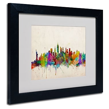 Trademark Fine Art Michael Tompsett 'New York Skyline' Matted Art Black Frame 16x20 Inches