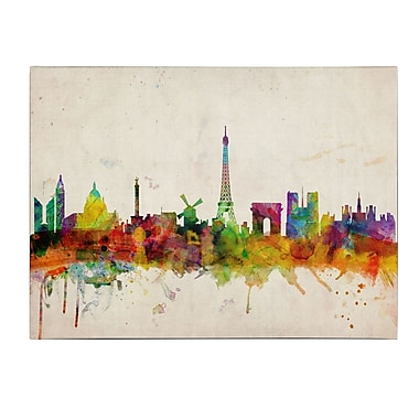 Michael Tompsett 'Paris Skyline' Matted Framed Art - 11x14 Inches - Wood Frame