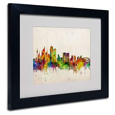 Trademark Fine Art Michael Tompsett 'Sydney Skyline' Matted Art Black Frame 16x20 Inches