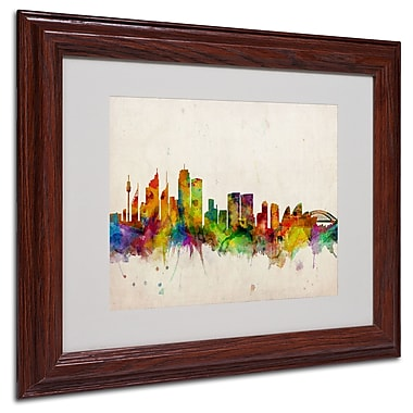 Michael Tompsett 'Sydney Skyline' Matted Framed Art - 16x20 Inches - Wood Frame