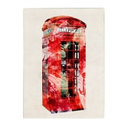Michael Tompsett 'Telephone Box' Matted Framed Art - 11x14 Inches - Wood Frame