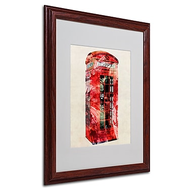 Michael Tompsett 'Telephone Box' Matted Framed Art - 16x20 Inches - Wood Frame