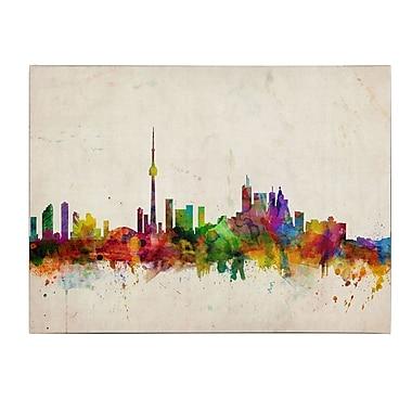 Michael Tompsett 'Toronto Skyline' Matted Framed Art - 11x14 Inches - Wood Frame