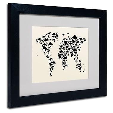 Trademark Fine Art Michael Tompsett 'Dinosaur World Map' Matted Art Black Frame 16x20 Inches