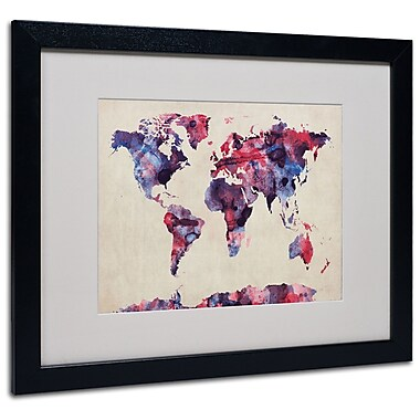 Trademark Fine Art Michael Tompsett 'Watercolor Map' Matted Art Black Frame 16x20 Inches