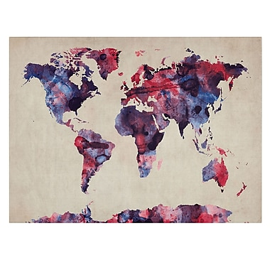 Trademark Fine Art Michael Tompsett 'Watercolor Map' Canvas Art 22x32 Inches