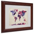Michael Tompsett 'Watercolor Map' Matted Framed Art - 11x14 Inches - Wood Frame
