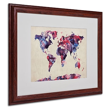 Michael Tompsett 'Watercolor Map' Matted Framed Art - 16x20 Inches - Wood Frame