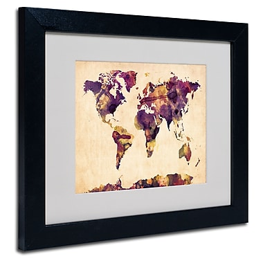 Trademark Fine Art Michael Tompsett 'Watercolor Map 2' Matted Art Black Frame 11x14 Inches