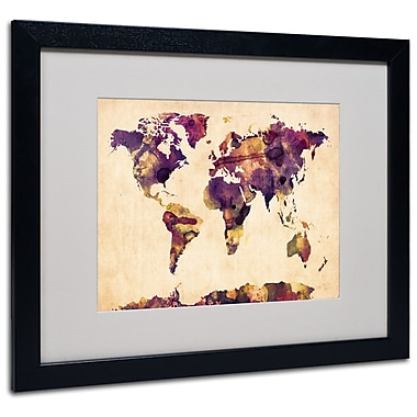Trademark Fine Art Michael Tompsett 'Watercolor Map 2' Matted Art Black Frame 16x20 Inches