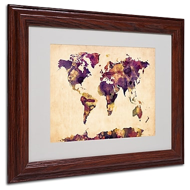 Michael Tompsett 'Watercolor Map 2' Matted Framed Art - 11x14 Inches - Wood Frame