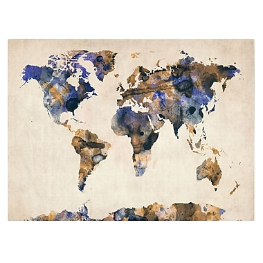 Trademark Fine Art Michael Tompsett 'Watercolor Map 3' Canvas Art 16x24 Inches
