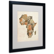 Trademark Fine Art Michael Tompsett 'Africa Text Map' Matted Art Black Frame 16x20 Inches