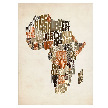 Trademark Fine Art Michael Tompsett 'Africa Text Map' Matted Art Black Frame 11x14 Inches