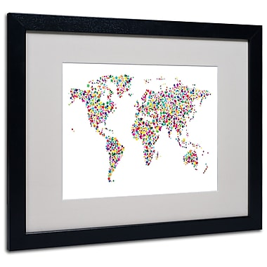 Michael Tompsett 'Stars World Map' Matted Framed Art - 11x14 Inches - Wood Frame
