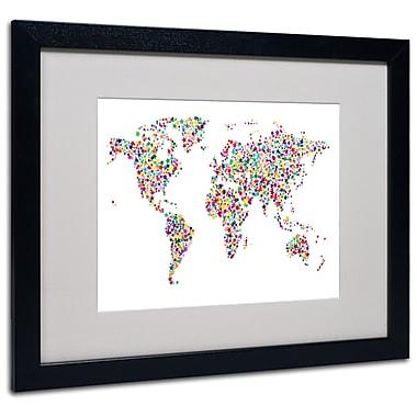 Michael Tompsett 'Stars World Map' Matted Framed Art - 11x14 Inches - Wood Frame