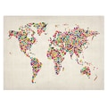 Trademark Fine Art Michael Tompsett 'Stars World Map 2' Canvas Art 30x47 Inches