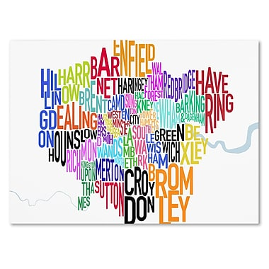 Trademark Fine Art Michael Tompsett 'London Text Map' Canvas Art 14x24 Inches