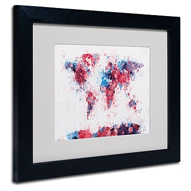 Trademark Fine Art Michael Tompsett 'Paint Splashes World Map' Matted Black Frame 11x14 Inches
