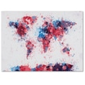 Trademark Fine Art Michael Tompsett 'Paint Splashes World Map' Canvas Art 14x19 Inches