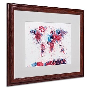 Trademark Fine Art Michael Tompsett 'Paint Splashes World Map' Matted White Frame 16x20 Inches