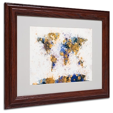 Michael Tompsett 'Paint Splashes World Map 2' Matted Framed - 16x20 Inches - Wood Frame