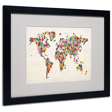 Michael Tompsett 'Flowers World Map' Matted Framed Art - 11x14 Inches - Wood Frame