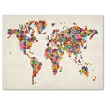 Trademark Fine Art Michael Tompsett 'Flowers World Map' Matted Art Black Frame 11x14 Inches