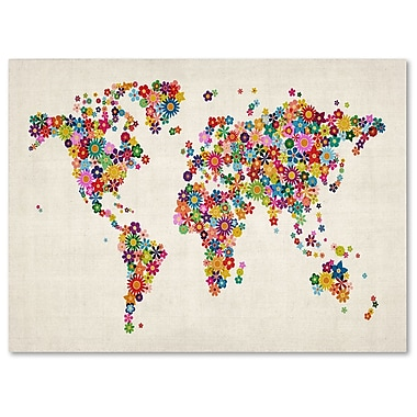 Trademark Fine Art Michael Tompsett 'Flowers World Map' Matted Art Black Frame 11x14 Inches