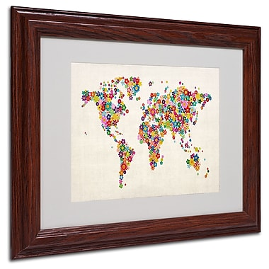 Michael Tompsett 'Flowers World Map' Matted Framed Art - 16x20 Inches - Wood Frame