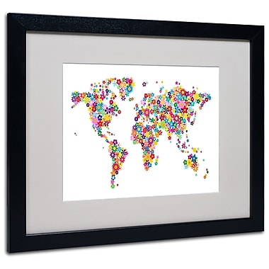 Michael Tompsett 'Flowers World Map 2' Matted Framed Art - 11x14 Inches - Wood Frame