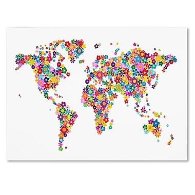 Trademark Fine Art Michael Tompsett 'Flowers World Map 2' Canvas Art 14x19 Inches