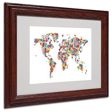Michael Tompsett 'Flowers World Map 2' Matted Framed Art - 16x20 Inches - Wood Frame