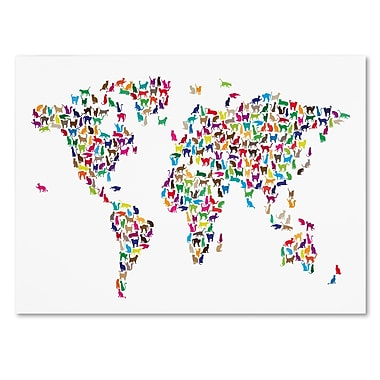 Trademark Fine Art Michael Tompsett 'Cats World Map' Canvas Art 16x24 Inches
