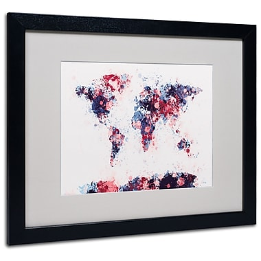 Michael Tompsett 'Paint Splashes World Map 3' Matted Framed - 11x14 Inches - Wood Frame