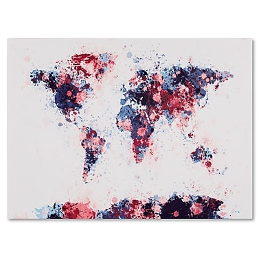 Trademark Fine Art Michael Tompsett 'Paint Splashes World Map 3' Matted Black Frame 11x14 Inches