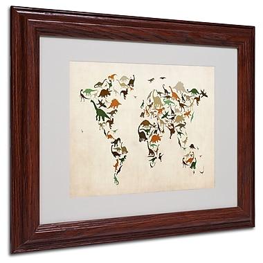 Michael Tompsett 'Dinosaur World Map 2' Matted Framed Art - 16x20 Inches - Wood Frame
