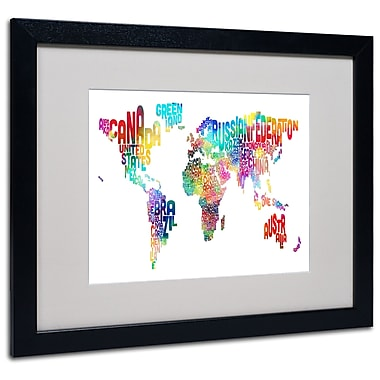 Trademark Fine Art Michael Tompsett 'World Text Map' Matted Art Black Frame 16x20 Inches