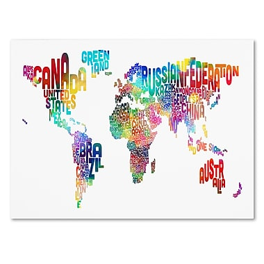 Trademark Fine Art Michael Tompsett 'World Text Map' Canvas Art 14x19 Inches